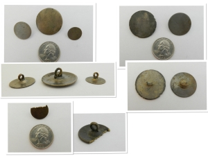 Some tombac buttons from the 16th - 18th century, with one 18th century broken brass button. Tombac is an alloy of brass and copper, with possibly a little zinc, tin, or lead thrown in. Tombac is silvery-gold and seems somewhat stable - these buttons haven't corroded too badly.