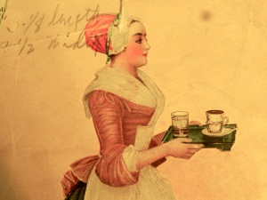 A detail from a 1916 Baker's Chocolate recipe booklet. The Chocolate Girl, after Jean-Etienne Liotard.
