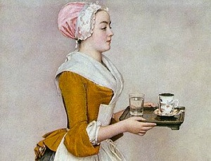 La Belle Chocolatiere, 1740s, by Jean-Etienne Liotard. Image detail courtesy of Wikipedia Commons.