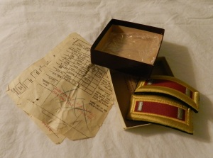 The box I found - epaulettes, bag, order form and receipt.