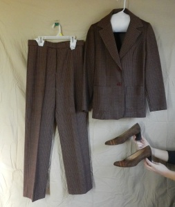In honor of Anchorman 2 - a 1970s burgundy woman's pantsuit, two pieces of double-knit polyester goodness. Shown with suede heeled loafers, 1970s.