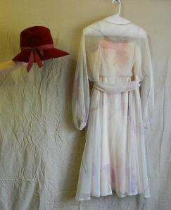 A Dan Lee Coture chiffon dress, 1970s, with the 1970s merrimac fur hat I wrote about in an earlier post.